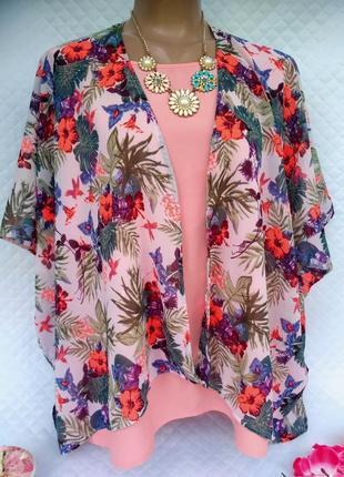 Яркая летняя шифоновая накидка кимоно , (44-50)/ l-5xl.