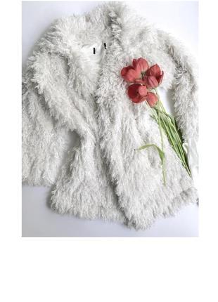 Шубка барашка белая / шуба пальто лама мех ламы молочная кучерявая пушистая