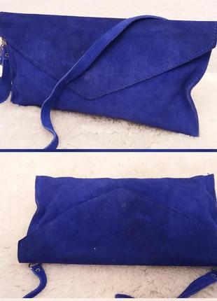 Эффектная замшевая сумочка#клатч красивого синего цвета