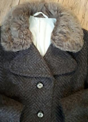 Теплое шерстяное (лама) пальто натуральный мех. оверсайз. подписчикам скидка 15%