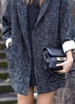 Вязаное пальто серое чёрное кокон оверсайз oversize, бойфренд на 1 пуговицу new look, m s