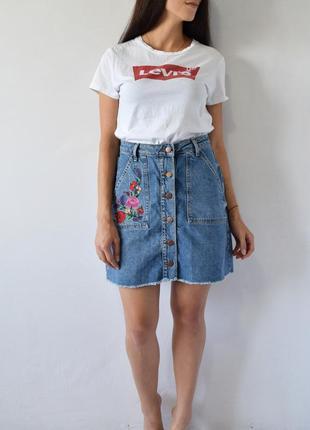 Джинсовая юбка с вышивкой denim co