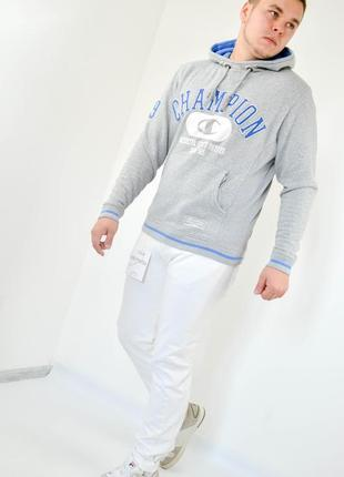 Champion худи серого цвета с большим объемным логотипом