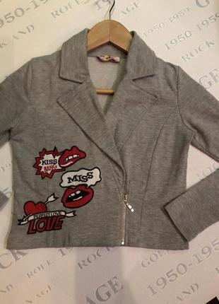 Пиджак серый котоновый с крутыми нашивками