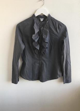 Блуза в вертикальную полоску с рюшами h&m