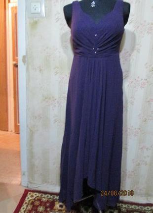 Вечернее длинное платье со шлейфом цвет баклажан 14 англ.