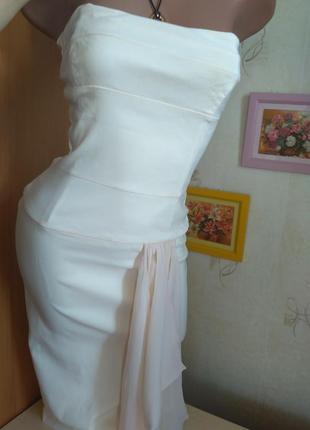 Распродажа: элегантное платье миди по фигуре корсет кремового с декором розовая пудра шелк