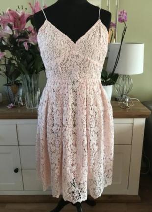 Шикарное кружевное вечернее, бальное платье, сарафан миди от h&m