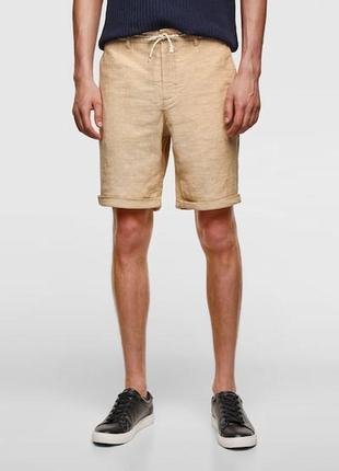 Льняные шорты с текстурным узором