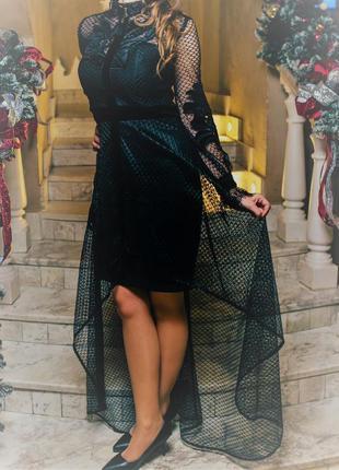 Платье выпускной бархат длинное с подолом футляр каскад черное сертка сукня