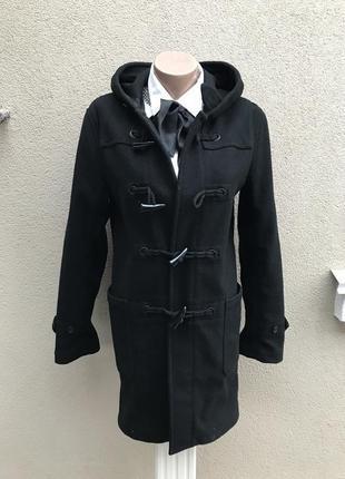 Теплое,шерсть пальто,куртка,дафлкот с капюшоном,шерсть+вискоза,маленький размер