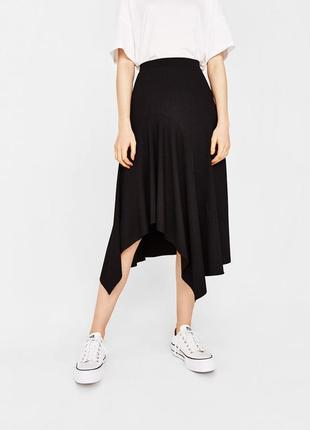 Черная асимметричная юбка bershka