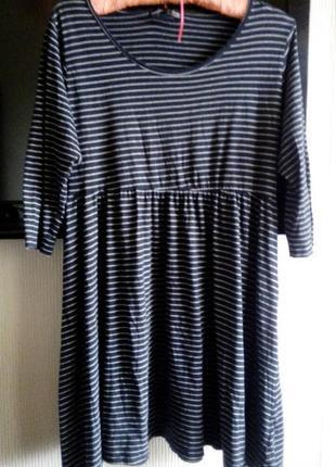 Платье туника трикотаж   в полоску