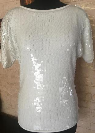 Натуральная блуза летучая мышь в белых пайетках