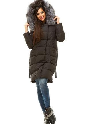 Срочно за 3200 грн.! очень классное пальто пуховик с чернобуркой