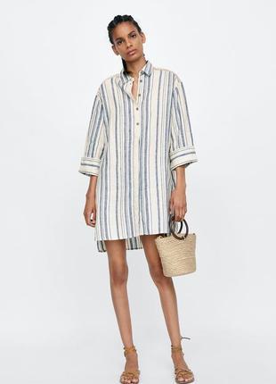 Льняное платье рубашка от zara