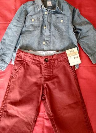 Бордовые джинсы carter's 2t+подарок!