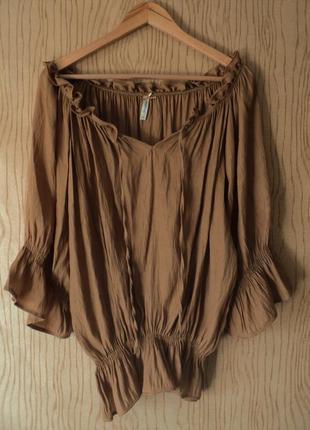 Топ chloe блуза блузка туника богемная бохо рюшами воланами пышным рукавом открытыми