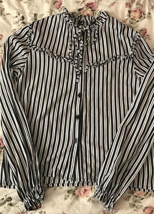 Рубашка / блузка в полоску с красивыми рукавами / с рюшиками