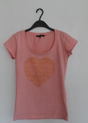 Розовая футболка top secret. хлопковая футболка с серцем