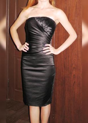 Коктейльное платье бюстье, dorothy perkins, атласное драпированное, р. 34-36