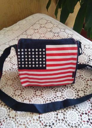 Стильная джинсовая сумка с американским флагом   от down and out