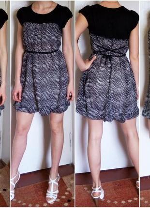 Летнее платье свободного кроя с поясом. качество. состояние нового.