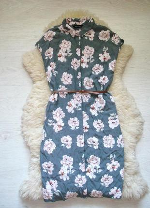 Красивое платье рубашка в цветочный принт