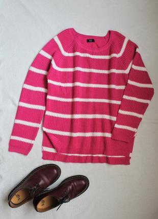 Свитер крупной вязки розовый в полоску f&f, размер 4xl