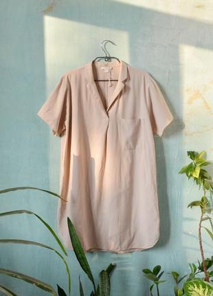 Шёлковое нюдовое платье рубашка туника с коротким рукавом cos из натурального шёлка