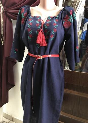 Красивое платье с вышивкой вышиванка лён вишиванка льон