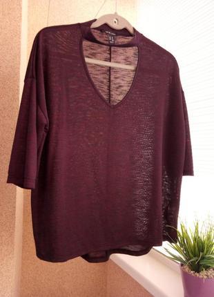 Тонкий  свитер  с имитацией чекера на горловине