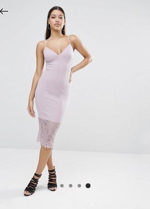 Неймовірна сукня-футляр з мереживом \ лиловое платье с кружевом missguided