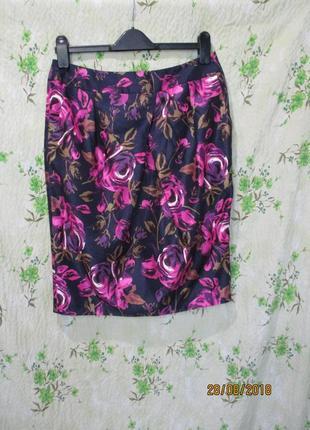 Яркая нарядная юбка карандаш со складкой спереди uk 12/наш 46 размер