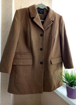 Качественное пальто-кардиган с рукавом 3/4 с содержанием шерсти
