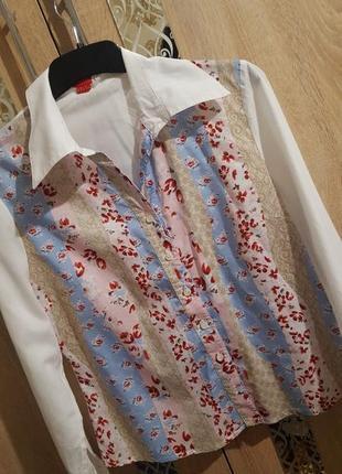 Трендовая хлопковая рубашка в цветочный принт