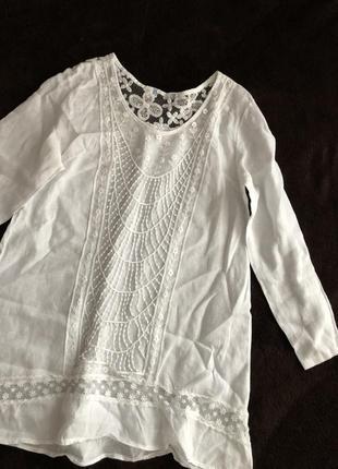 100 % лен белая блуза . италия