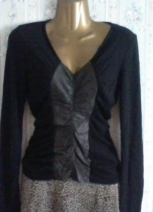 Дизайнерский свитерок из шерсти мериноса с кожей, разм. 42