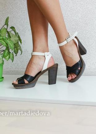 Кожаные босоножки на каблуке, бренд marc o polo