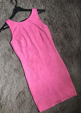 Распродажа летнего! яркое розовое платье по фигуре с замком на всю спину в орнамент