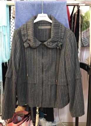 Пальто полупальто куртка осеннее демисезон темно серое шерсть шерстяное повседневное