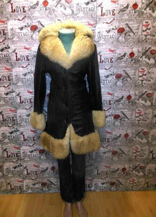 Кожаное пальто с мехом овчины
