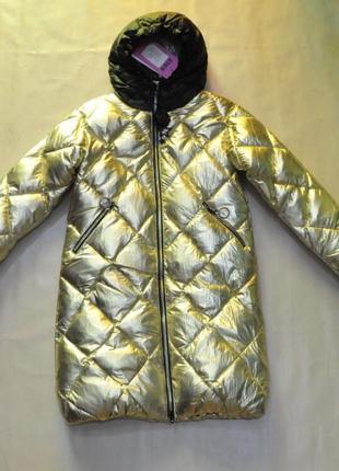 Пальто девочка kiko 4962. китай зoлото и серебро. зима 2018