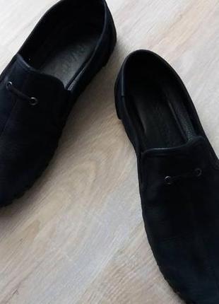 Туфли мужские, (нубук черные, внутри кожа,45р.)
