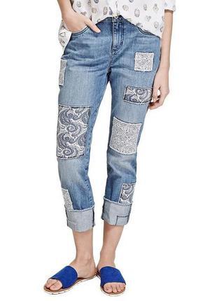 Крутые джинсы модели гелфренд с нашивками из тонкого хлопка с узорами, размер 10