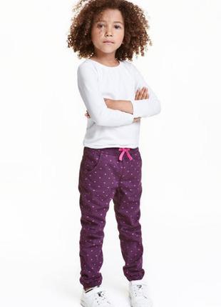 Сиреневые штаны h&m на девочку брюки 3 4 года с атласной лентой на резинке демисезон