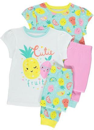 Новая пижама для девочки фрукты, 1 штука, george, 5973371