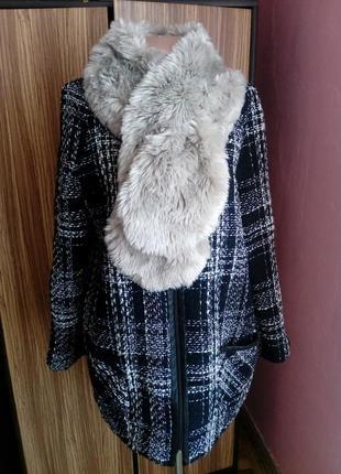 Актуальное пальто с кожаными вставками atmosphere,размер 16(44)-xxl