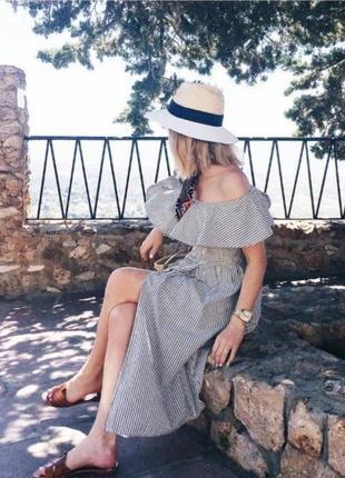 Платье zara со спущенными плечами в полоску