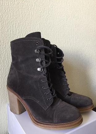 Ботинки замш шнуровка средний каблук